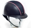 White/Red Kask Charles Owen AYR8 Leather Look with piping